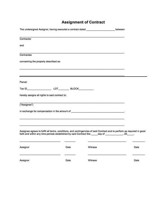 ASSIGNMENT OF CONTRACT Real Estate Pinterest Real estate