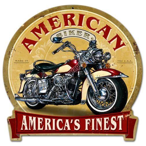 american biker round banner metal sign car guy garage. Black Bedroom Furniture Sets. Home Design Ideas