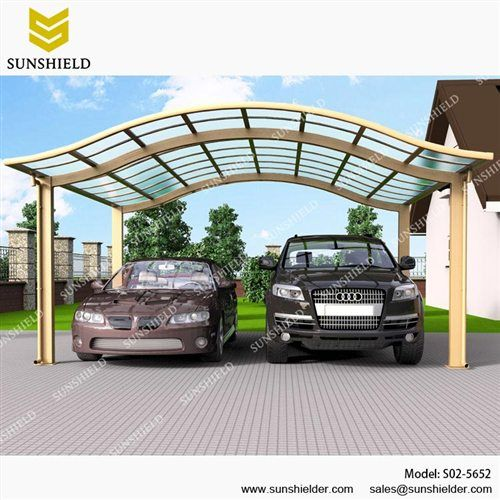 Rv canopy carport american aluminum car parking glass roof for Double car carport