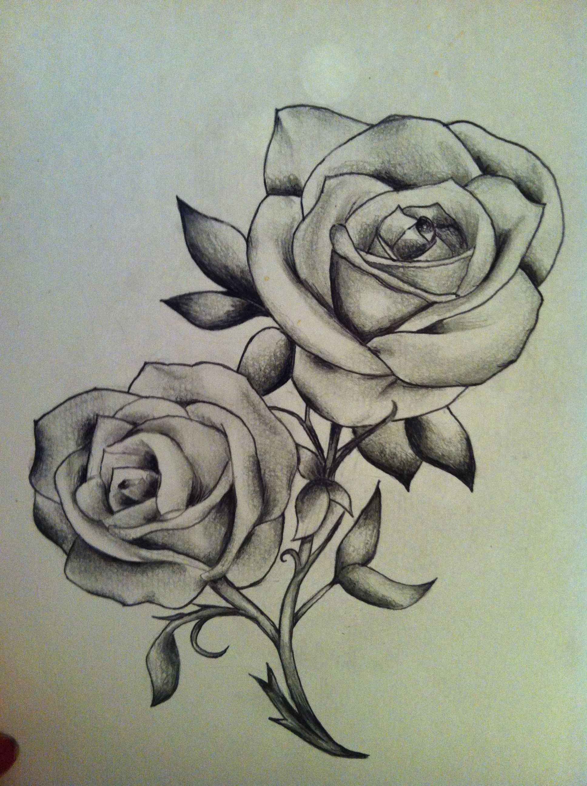 Tattoo Roses Art Black And White Sketch Drawing Classic Black