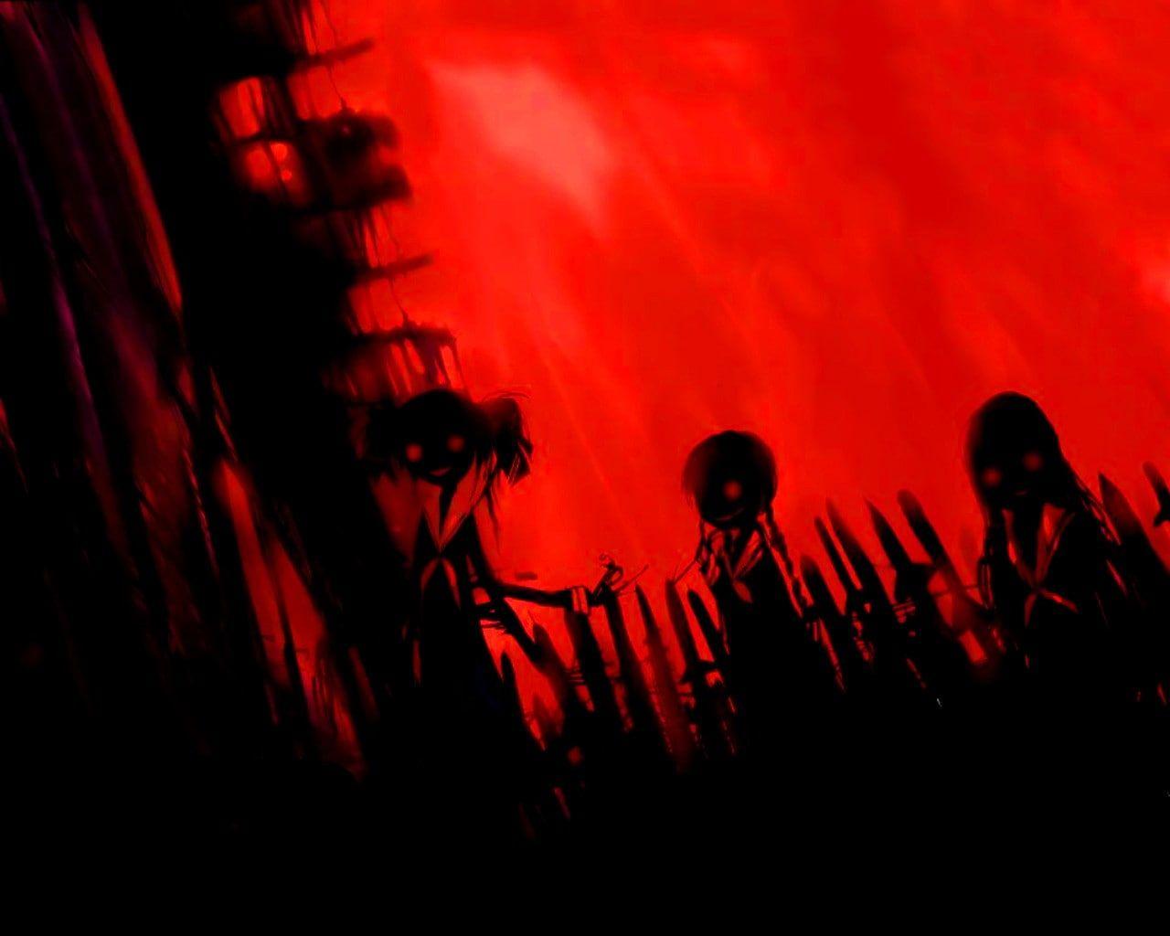 Horror Anime Girls Anime Horror Anime Red Black 720p Wallpaper Hdwallpaper Desktop Anime Cover Photo Anime Background Anime Wallpaper Iphone