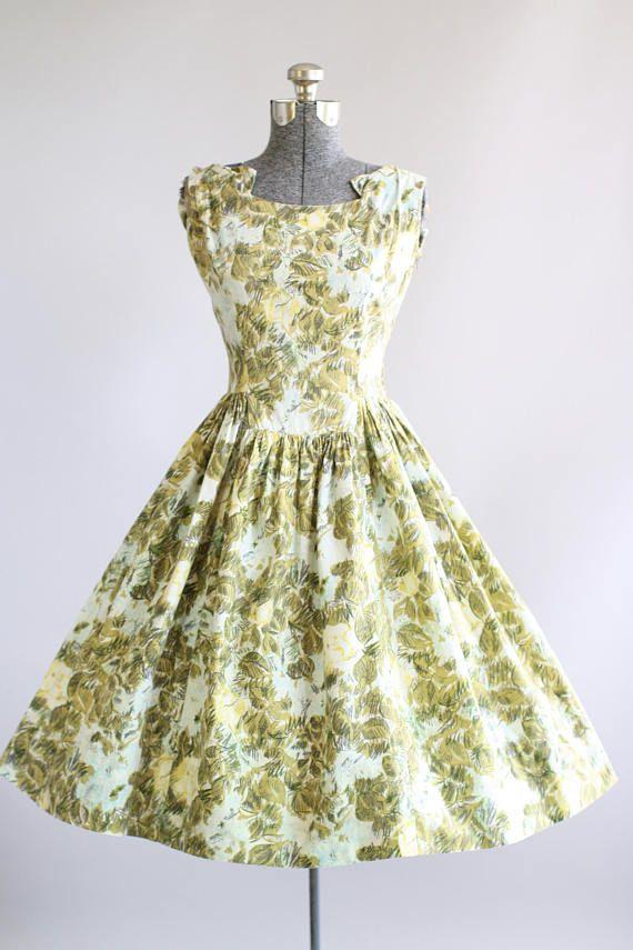 Vintage 1950s Dress 50s Cotton Dress Rembrandt Olive Green Scribble Floral Print Dress M Vintage 1950s Dresses Vintage Dress Design Dresses