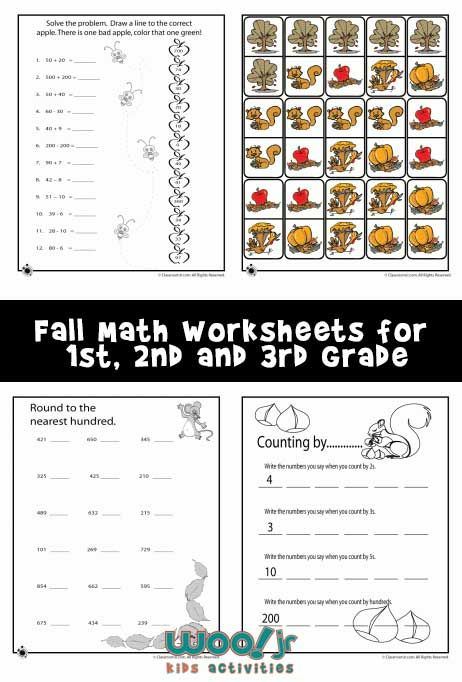 3 printable fall math worksheets for 2nd and 3rd grade students ...