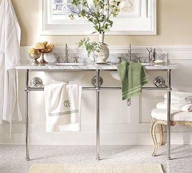 Apothecary Double Sink Console Pottery Barn Marble Bathroom