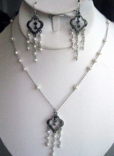SET MARCASITE AND PEARLS ~ Necklace & chandelier earrings ...