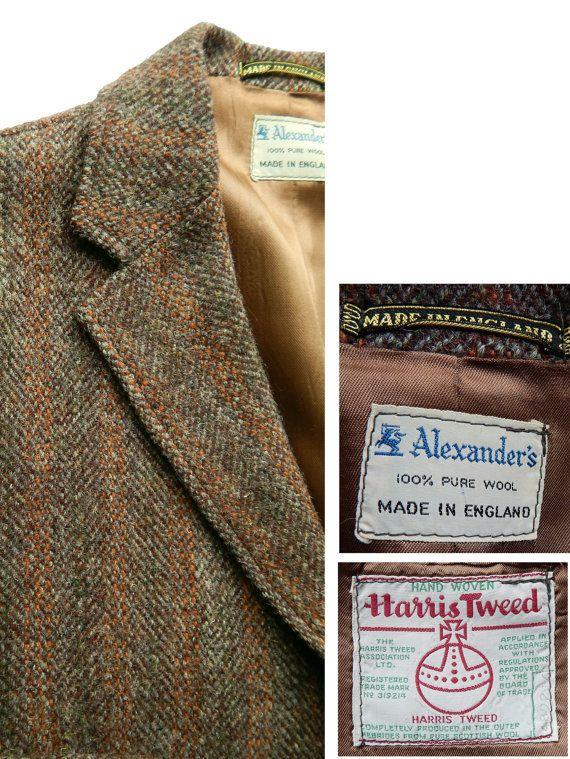 Mens Vintage 1960s Harris Tweed Sport Coat. Swelled Edge