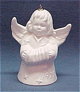 1979 Goebel Angel Bell Christmas Tree Ornament. White Bisque.
