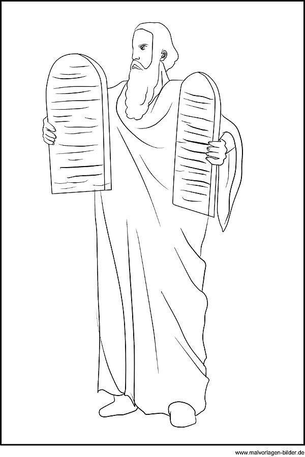 Bible coloring pages - Moses Moses und die Zehn Gebote als ...