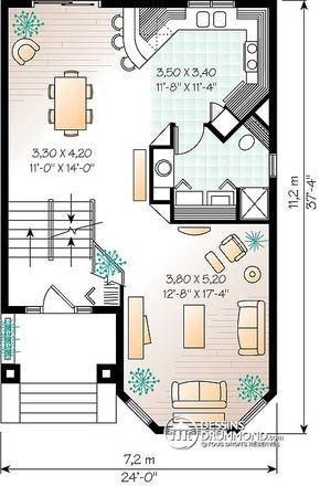 Détail du plan de Maison unifamiliale W2453 Frutillar Pinterest - plan de maison design