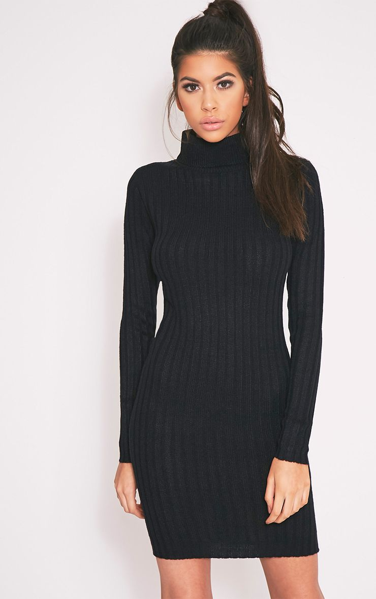 779071c1ed8 Bianca Black Ribbed Roll Neck Knitted Dress