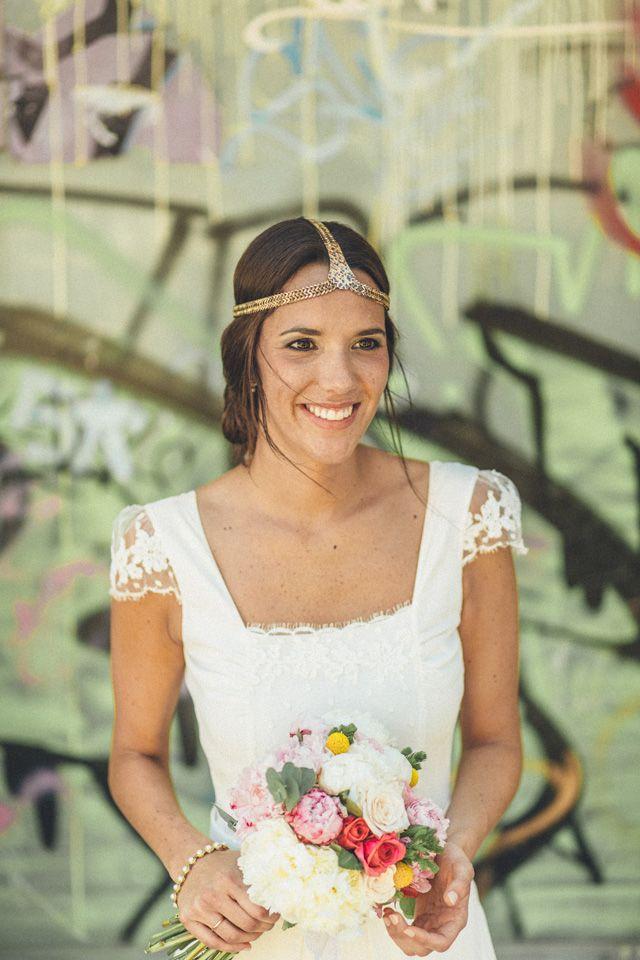 novia vestido laure sagazan boda albacete corona flores maxi ...