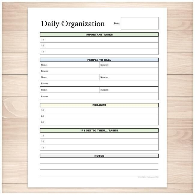 Daily Organization Category Task Sheet - Printable