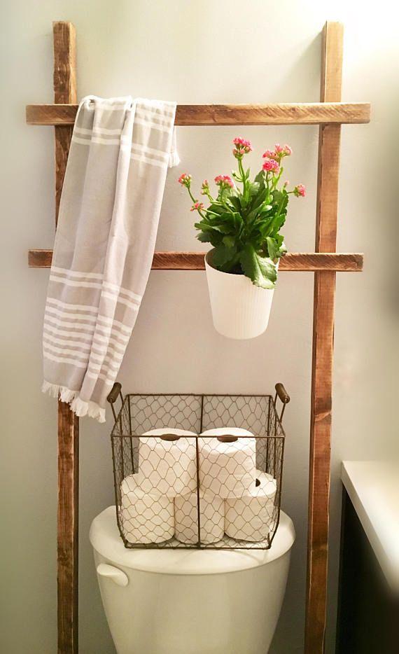 Throw Rustic Ladder Over The Toilet Storage Farmhouse Towel Bathroom Decor Towel Rack Toilet Storage
