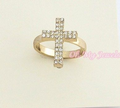 CRYSTAL CROSS GOLD TONE RING