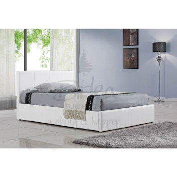 Berlin Ottoman Bed - White faux leather, under bed storage - Double ...