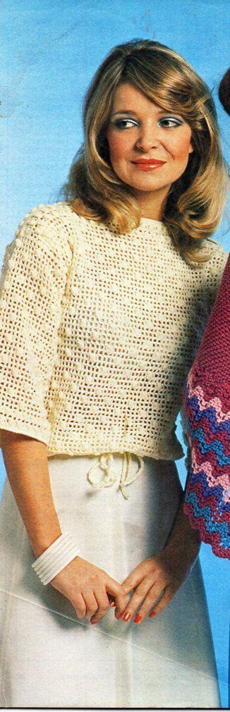 Vintage womens 4ply crochet top crochet pattern pdf ladies crochet ...
