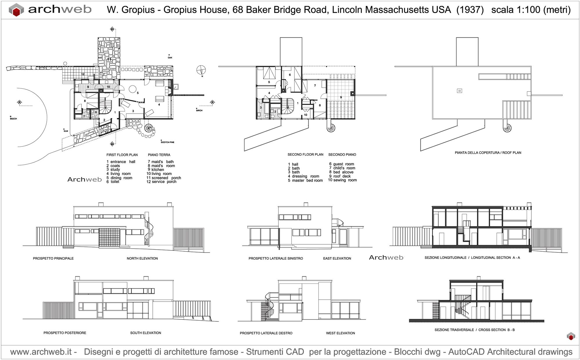 Gropius House Drawings House Floor Plans House Drawing Architecture House