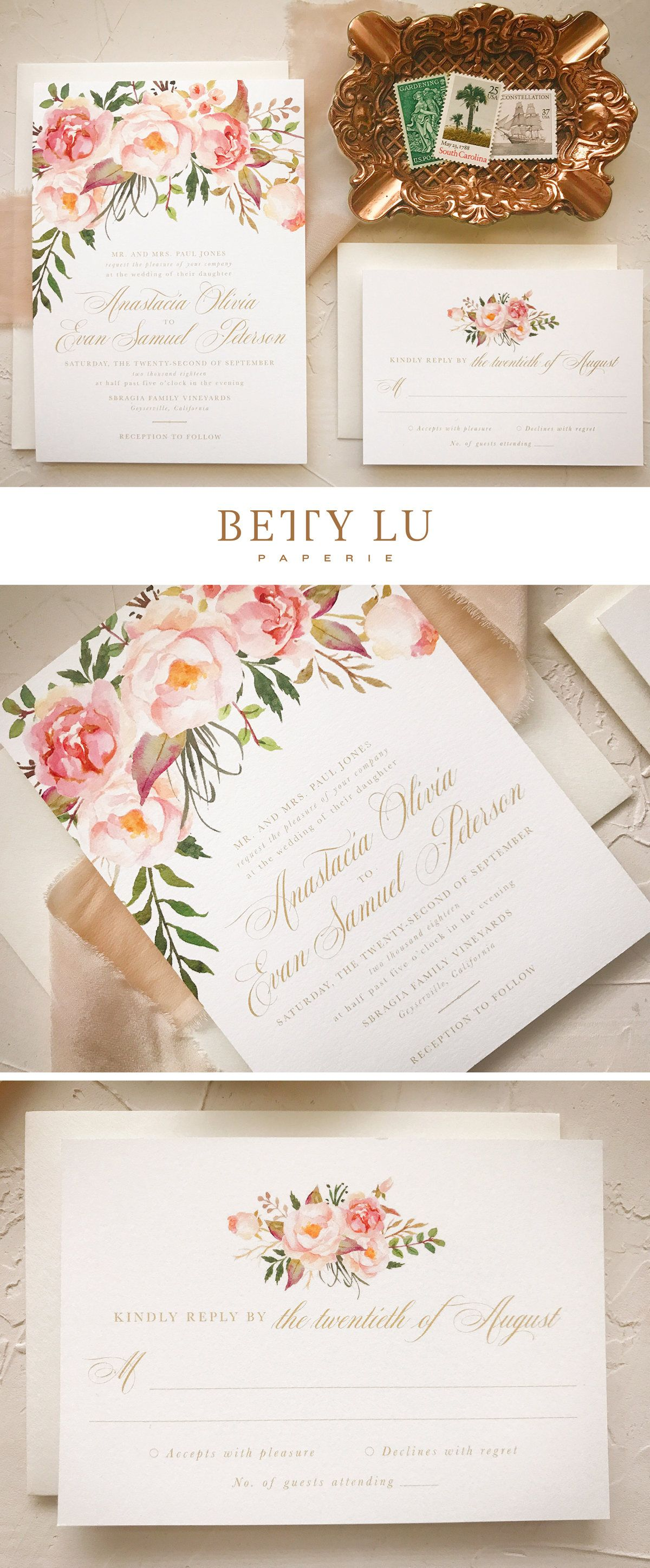 Blush Floral Wedding Invitation, Boho Chic Wedding Invites | Blush ...