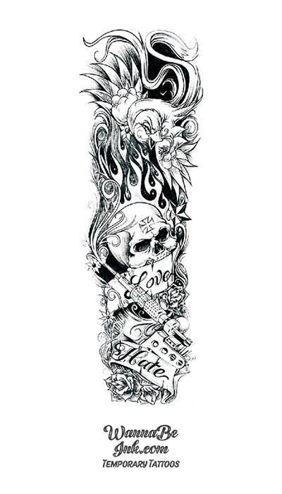 Love & Hate Flaming Skull Tattoo Gun and Flower Temporary Sleeve Tattoos