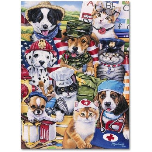 Trademark Fine Art 'Working Paws' Canvas Art by Jenny