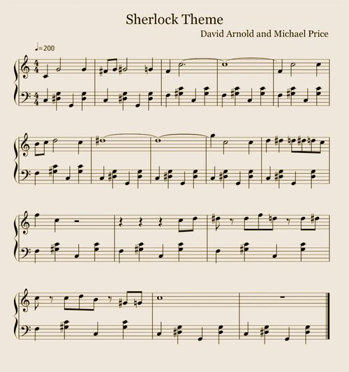 Sheet Music For Knowing Me Knowing You: Sherlock Theme On Piano... It Would Be Great To Memorize