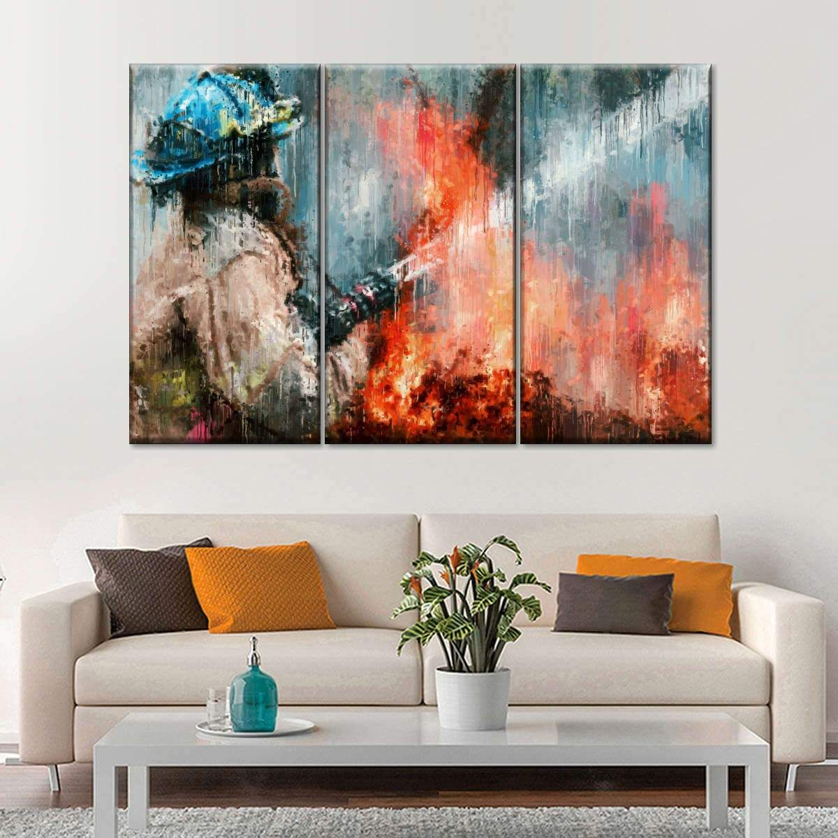 Abstract Firefighter Multi Panel Canvas Wall Art In 2020 Firefighter Art Canvas Wall Art Art
