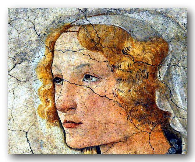 Sandro Botticelli (1446-1510) -   A young man presented by Venus.  Detail.  Circa 1482-1485.  Musée du Louvre, Paris.