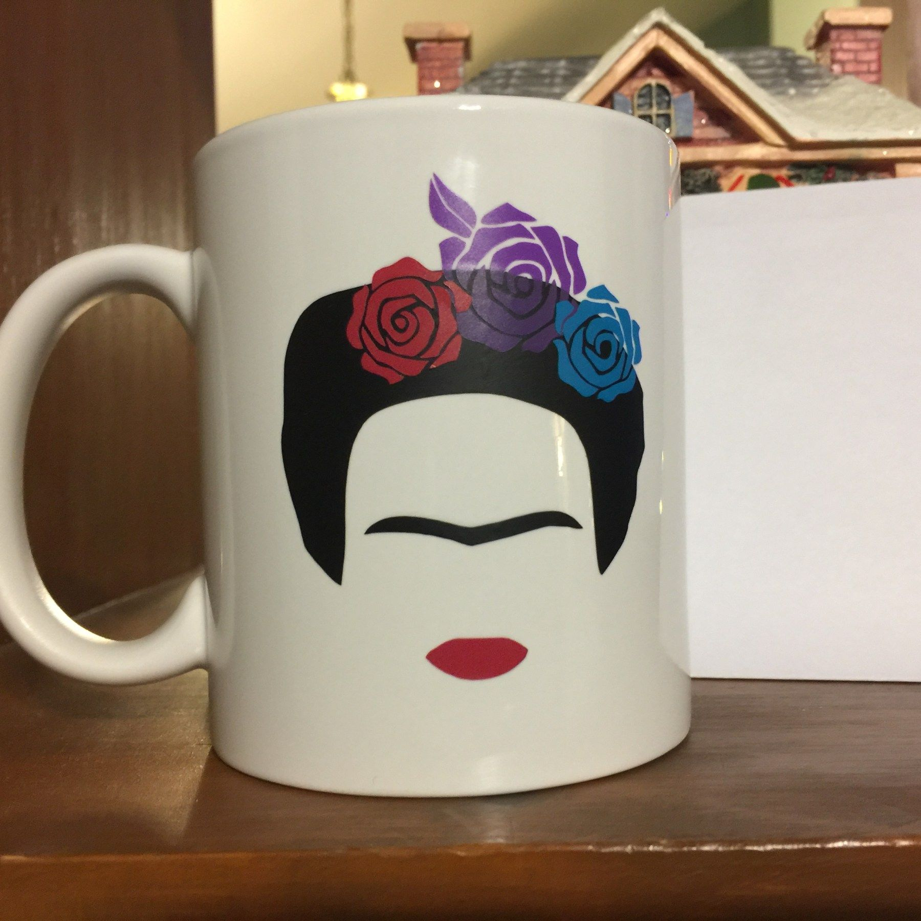 Frida Kahlo inspired, White Coffee Mug, 12 oz White