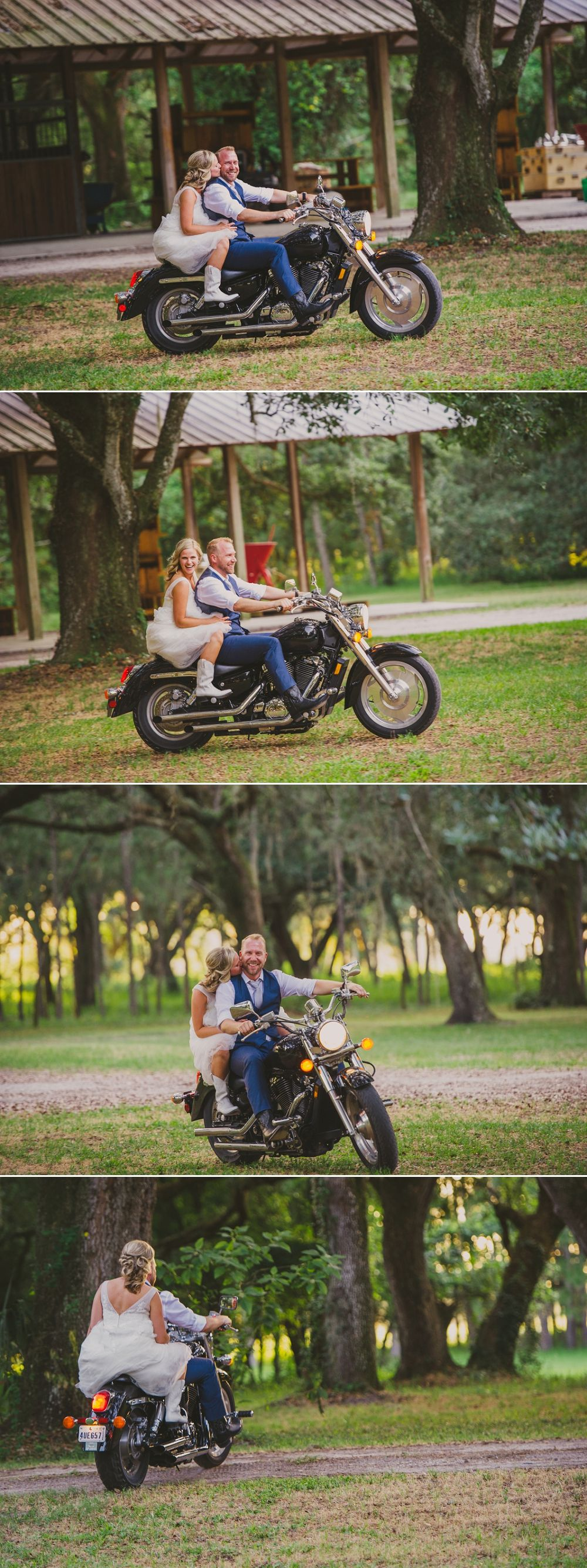 Photos Of Couple On Grooms Motorcycle During Bird Island Lake Ranch