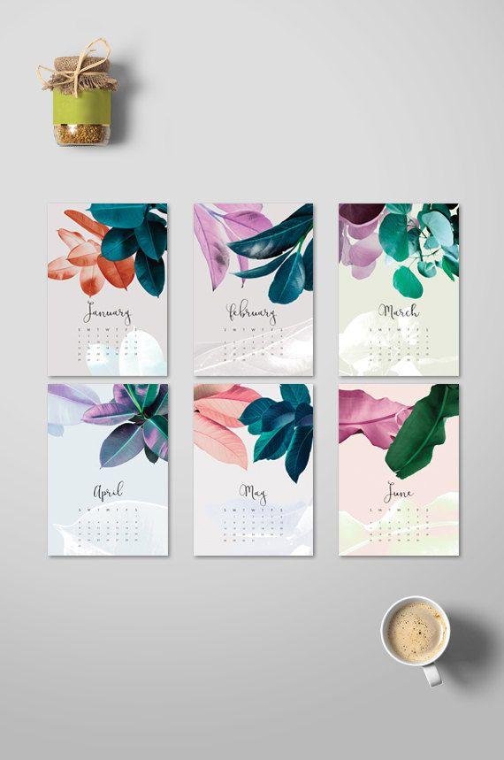 2019 Desk Calendar, Botanical Printable Calendar 2019, Tropical
