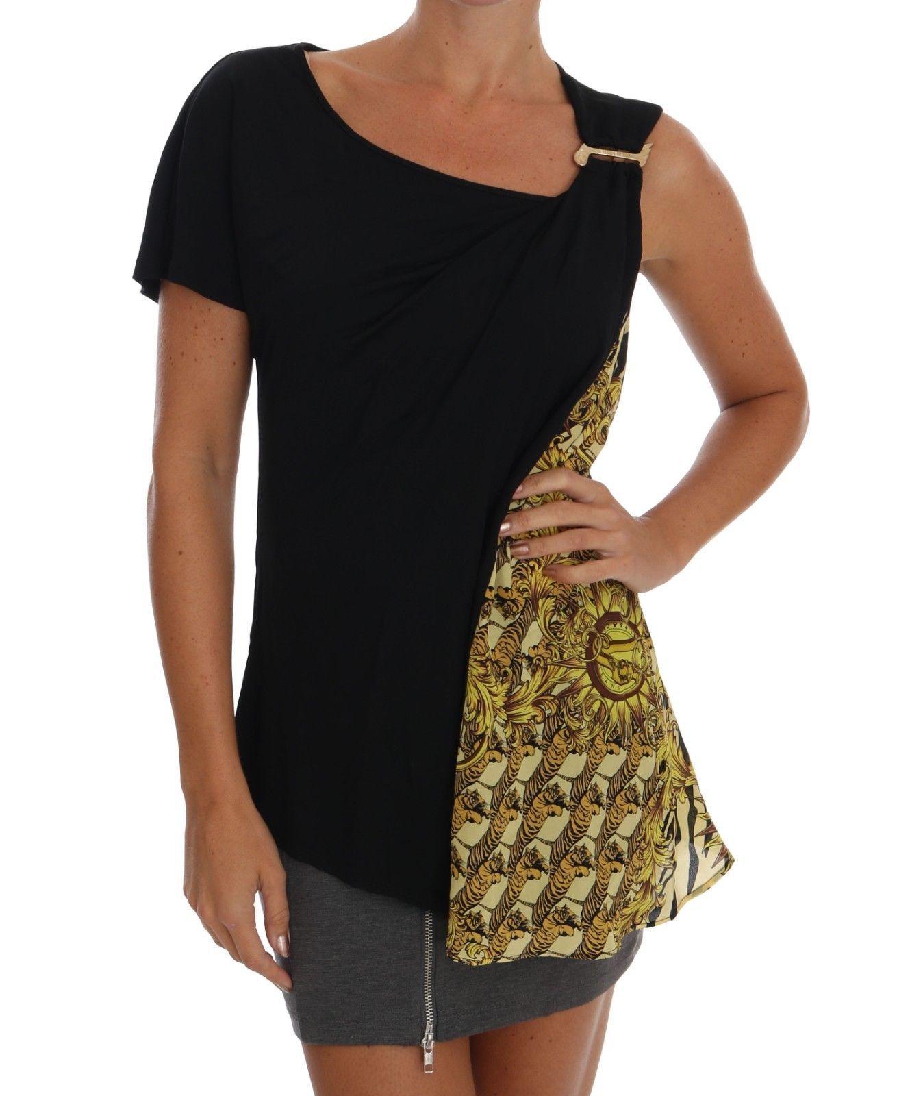 be0bb2dbc369 159.00 | NEW $260 VERSACE JEANS VJ T-Shirt Blouse Top Black Gold Silk  Baroque IT40/ US4/S ❤ #versace #jeans #shirt #blouse #black #gold #silk # baroque ...