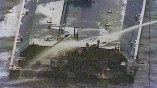 BARGE CATCHES FIRE FOLLOWING HOUSTON SHIP CHANNEL COLLISION - One of the barges, which is hauling petroleum naphtha, caught fire following the collision. An HFD fire boat put out those flames. <span class=meta>KTRK Photo</span>