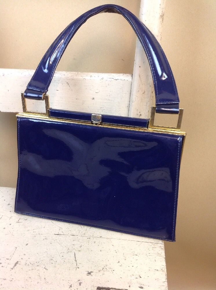 A Vintage Jane Shilton 1960s Chic Stylish Bag Blue Patent Leather 10x8 Inches