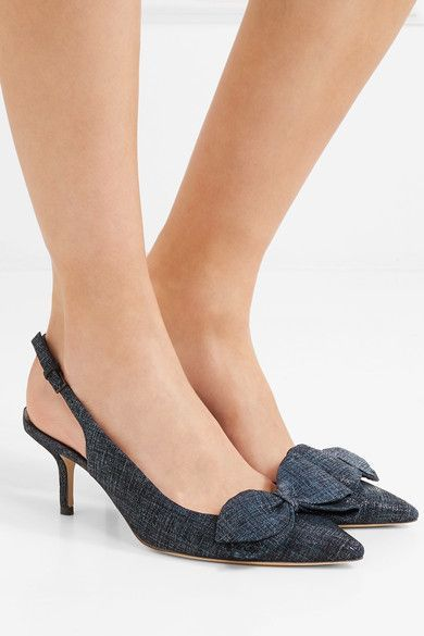 86fccd322437e Tory Burch - Rosalind Bow-embellished Suede Slingback Pumps - Navy ...