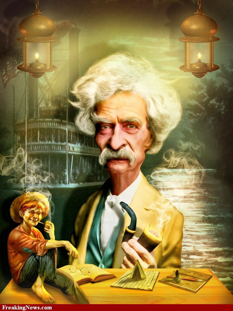 Image result for caricature of mark twain