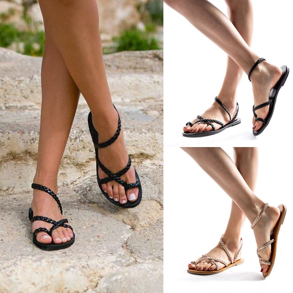 Ladies knitted strapped sandals flat soles sandals beaches Roman sandals  casual comfortable sandals and slippers 90f64128f122