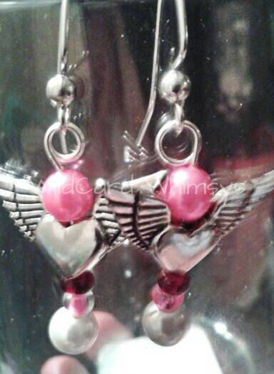 Valentine CarrieGrace heart and wings earrings by WildCardWhimsys