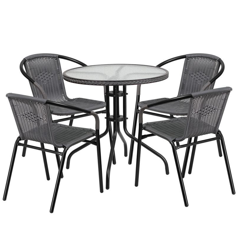 grey aluminum glass metal plastic rattan 5 piece patio dining rh pinterest com