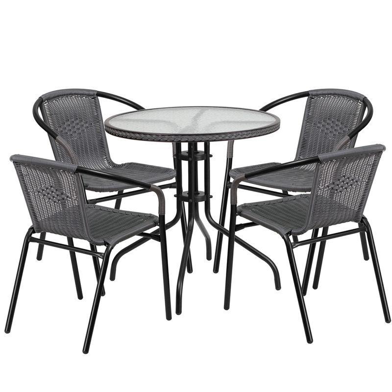 grey aluminum glass metal plastic rattan 5 piece patio dining rh za pinterest com