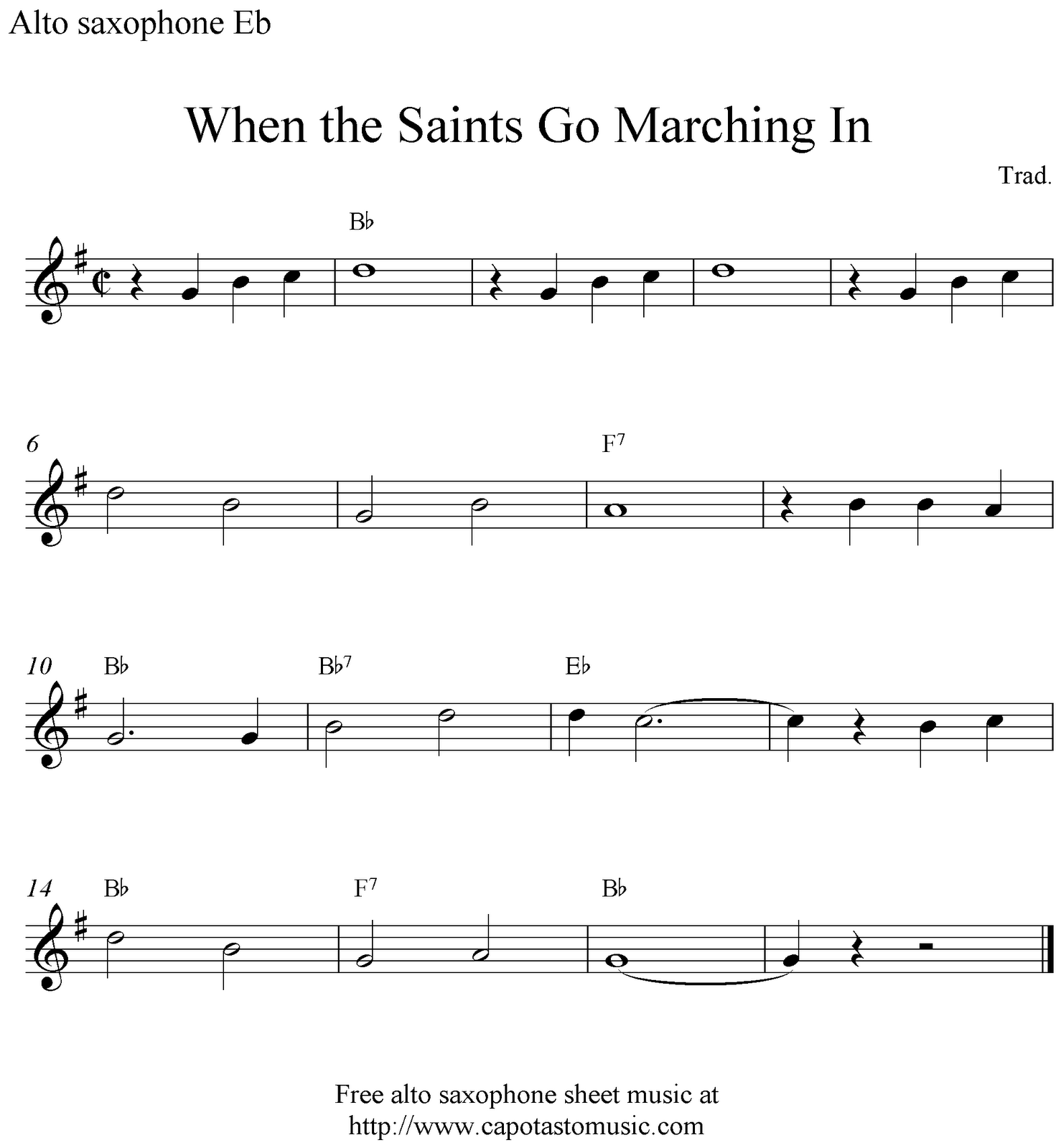 alto saxophone sheet music | ... When the Saints Go Marching In ...