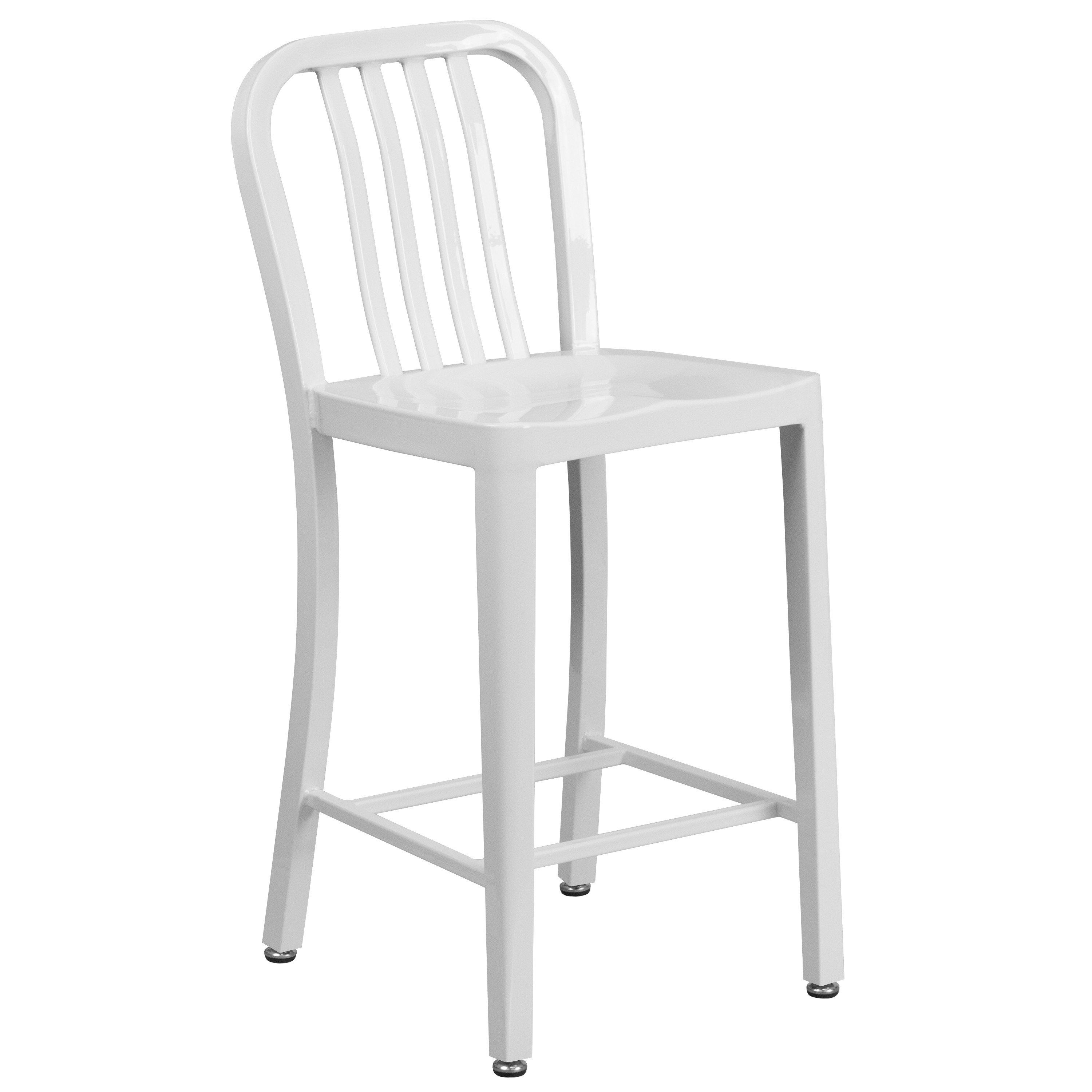 Metal Counter Height Stool With Vertical Slat Back Kitchen