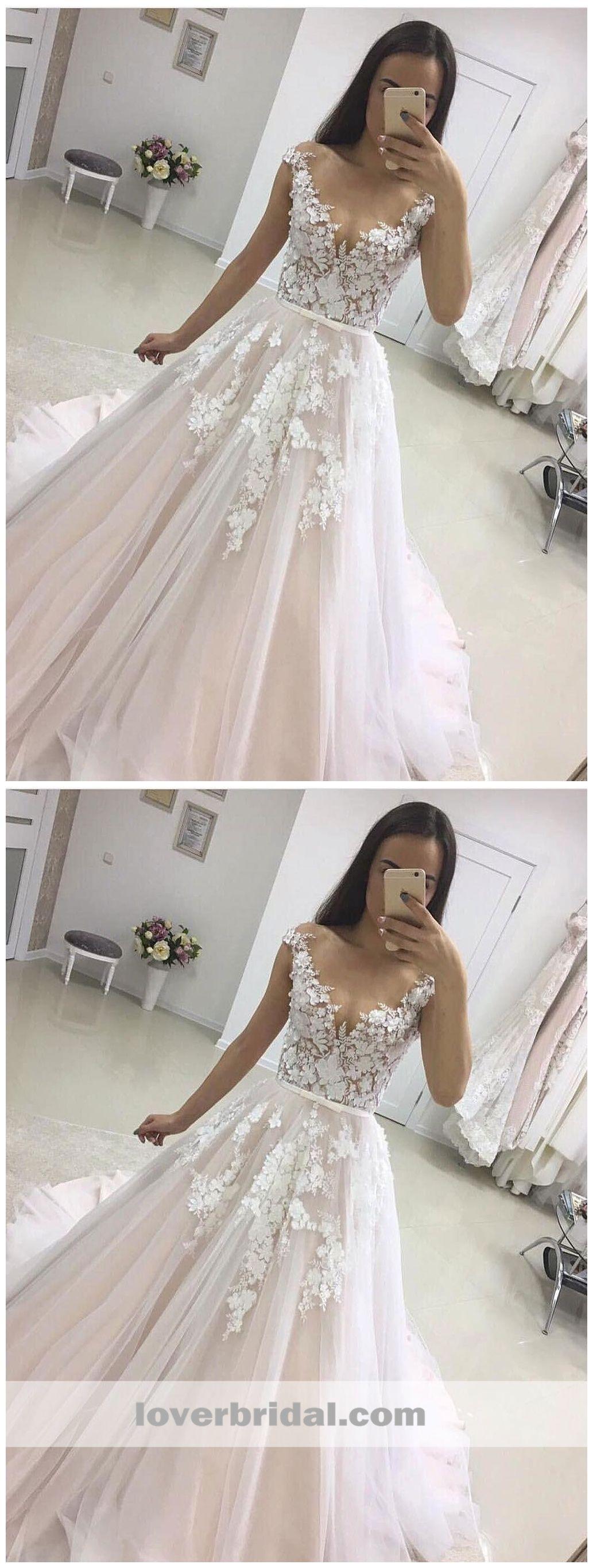 See through cap sleeves aline wedding dresses online cheap