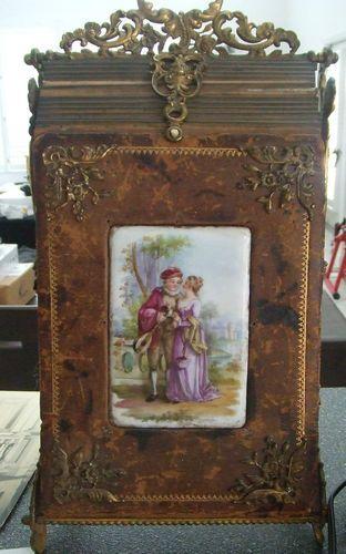 Antique Photo Holder, gorgeous wood and coper decorations <3
