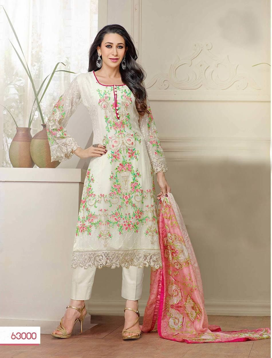 a5ce62798d2 Karishma kapoor new designer off white straight plazo suit
