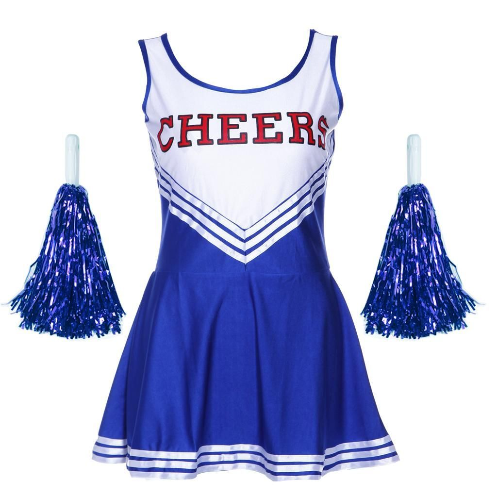 Cheerleader Fancy Dress Costume Womens Ladies High School Prom Uniform Pom Poms