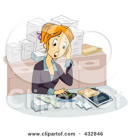 Schreibtisch chaos clipart  Accounting Clip Art | Stressed Out Female Accountant At Her Desk ...