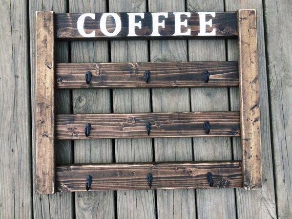 Coffee Mug Display, Coffee Mug Rack, Coffee Bar, Coffee Cup Holder, Coffee
