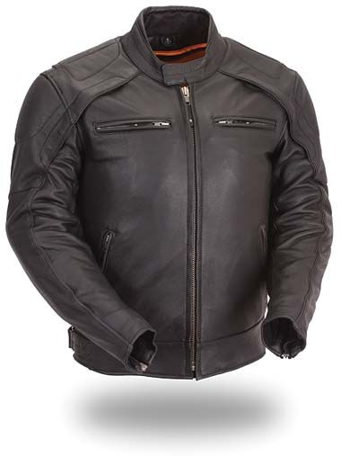 Men/'s Vintage Distressed Grey Leather Scooter Jacket w// Heavy Venting Throughout