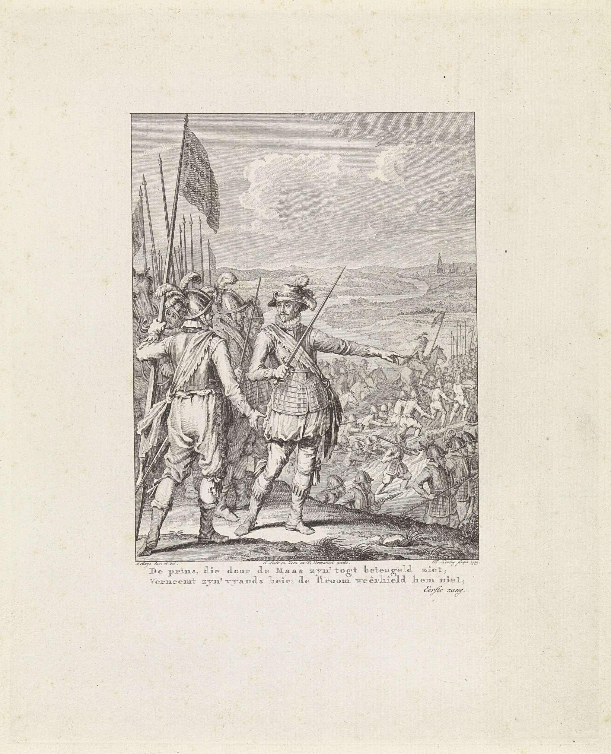 Theodoor Koning | Prins van Oranje trekt over de Maas, 1568, Theodoor Koning, Johannes Smit & Zoon, Willem Vermandel, 1779 | Willem van Oranje trekt in de nacht van 5 op 6 oktober 1568 met zijn manschappen de Maas tussen Maastricht en Maaseik over. Willem van Oranjestaat op de voorgrond tussen zijn officieren en wijst zijn leger de weg bij het oversteken van de Maas. Deze prent maakt deel uit van een serie van 24 prenten met taferelen uit het leven van prins Willem I, 1568-1584 en is een…