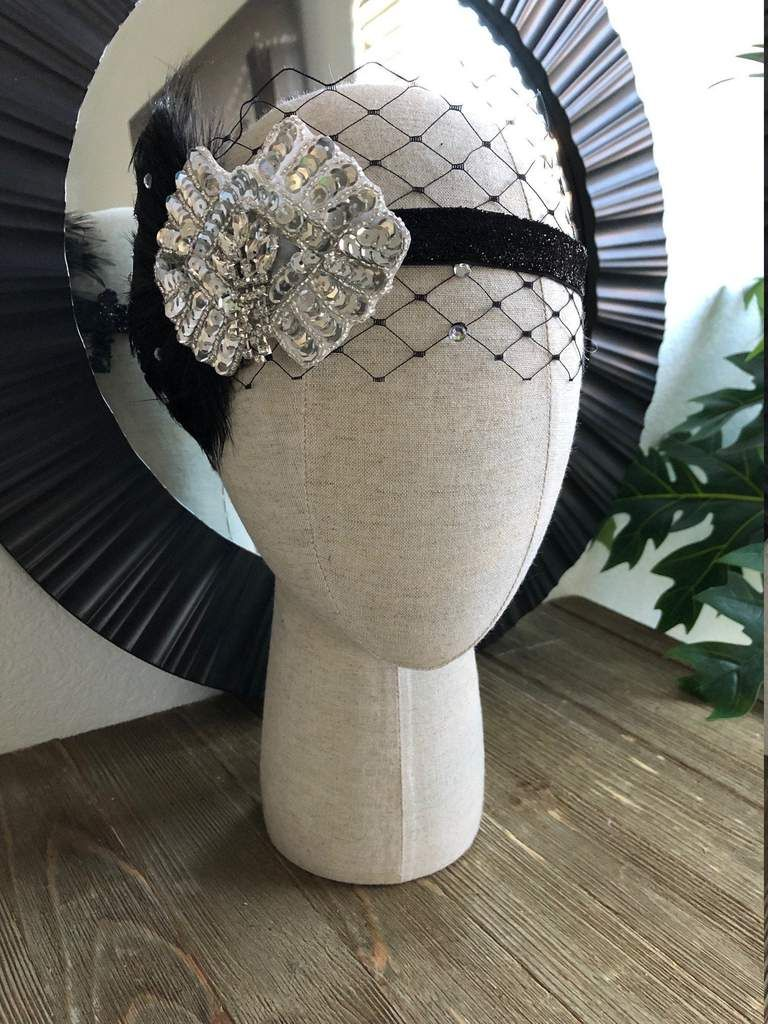 Black flapper headpiece with net and rhinestones, vintage inspired, 1920's headpiece, rhinestone headband with feather, wedding headband